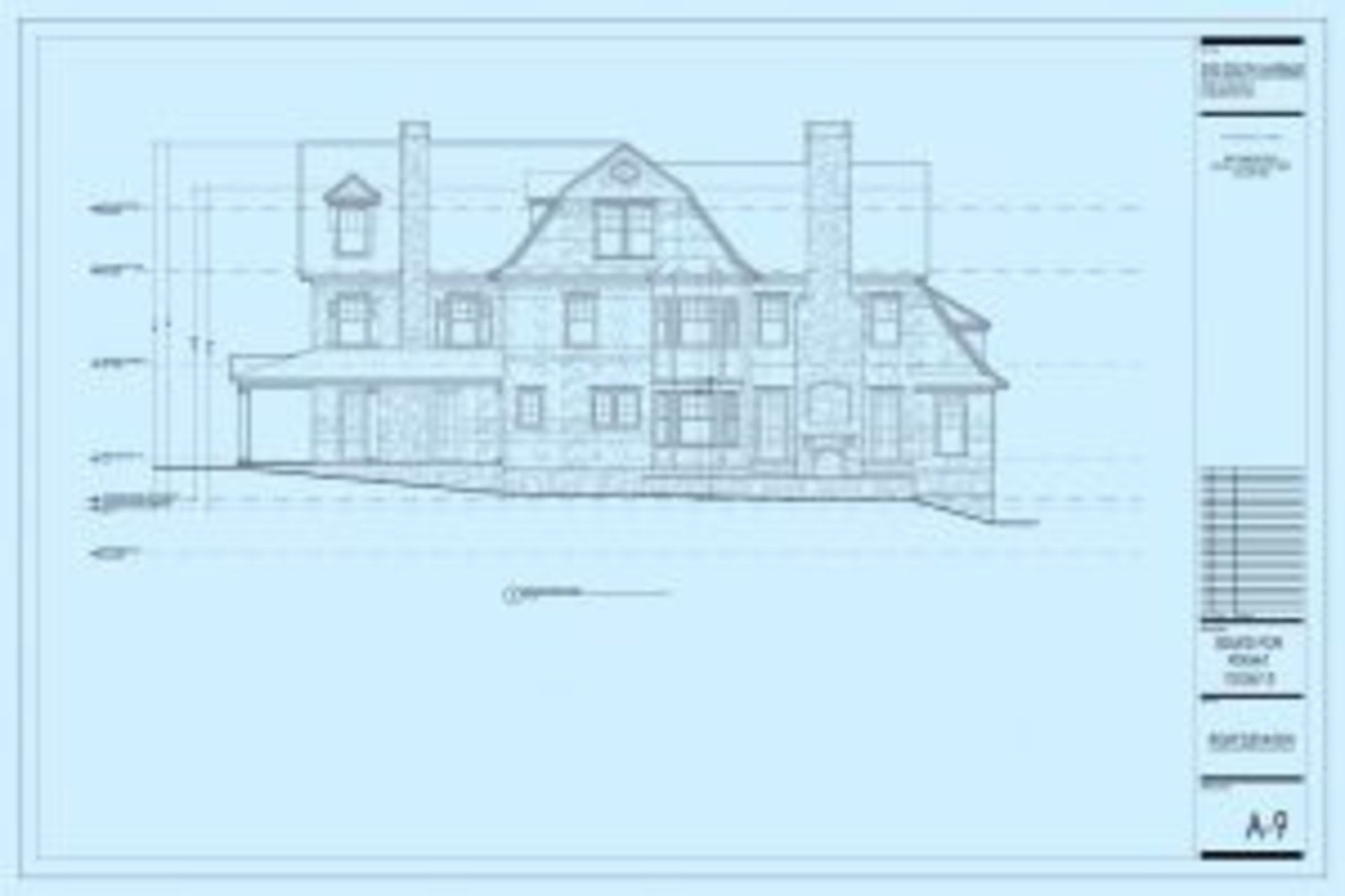 Right Elevation Plan for 310 South Avenue, New Canaan, CT - Architecture - Andrew Nuzzi Architects